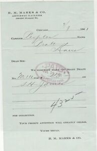 U.S. H. M. Marks & Co. Chicago 1901 Tailors Paid Bank Cancel Invoice Ref 41328