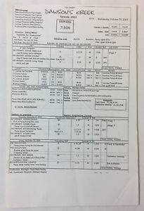 DAWSON'S CREEK set used CALL SHEET plus 9 pages of sides ~ Season 5, Episode 10