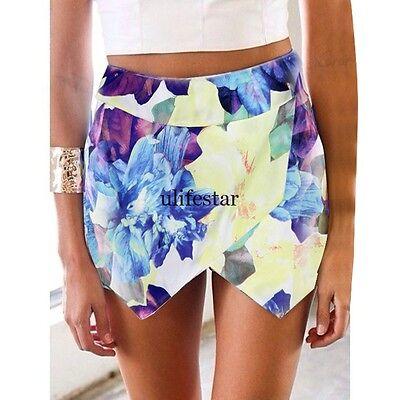 Women Fashion Tiered Wrap Asymmetric Shorts Culottes Floral Skort Mini Skirt LM