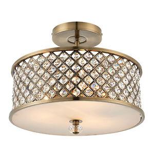 Endon-Hudson-lampe-plafonnier-3x-60W-Laiton-ancien-amp-cristal-clair-gouttes