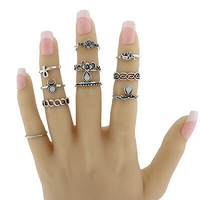 Lot 10 Pcs/Set Gold/Silver Plated Antique Vintage Midi Ring Knuckle Rings Nice