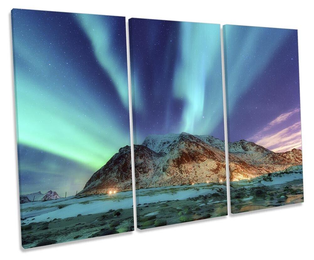 Northen Lights Stars Bild TREBLE CANVAS Wand Kunst Drucken Grün