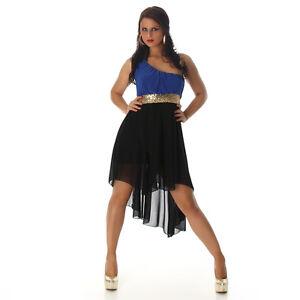 Sexy Vokuhila Kleid Blau Schwarz 34 36 38 Pailetten One Shoulder ... c21a6e7117