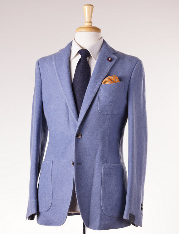 NWT 1080 LARDINI Sky Blau Washed F/W Wool Blazer Slim 52/42 R Sport Coat