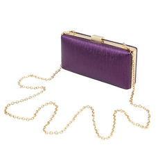 Elegant Small Solid Color PU Leather Shine Hard Clutch Evening Bag Handbag