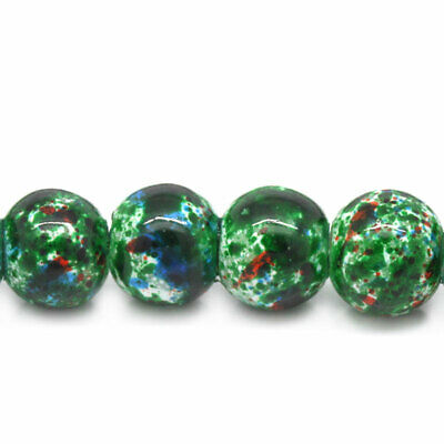 140 Loose Green Glass Drawbench Beads 6mm Ideal for Jewellery Making