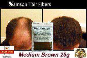 Hair Fibre Refill Bag MEDIUM BROWN Hair Loss Fiber Jar Samson ... f49bad03977a