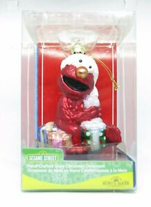 Handcrafted-Glass-Kurt-Adler-Sesame-Street-Elmo-Christmas-Ornamen-NIP