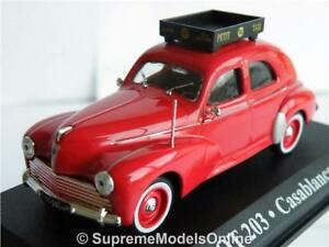 PEUGEOT-203-CASABLANCA-TAXI-1960-MODEL-CAR-1-43RD-RED-COLOUR-EXAMPLE-T3412Z