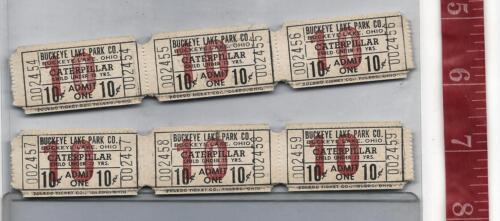 Vintage lot 10c Caterpillar tickets Buckeye Lake Park Ohio