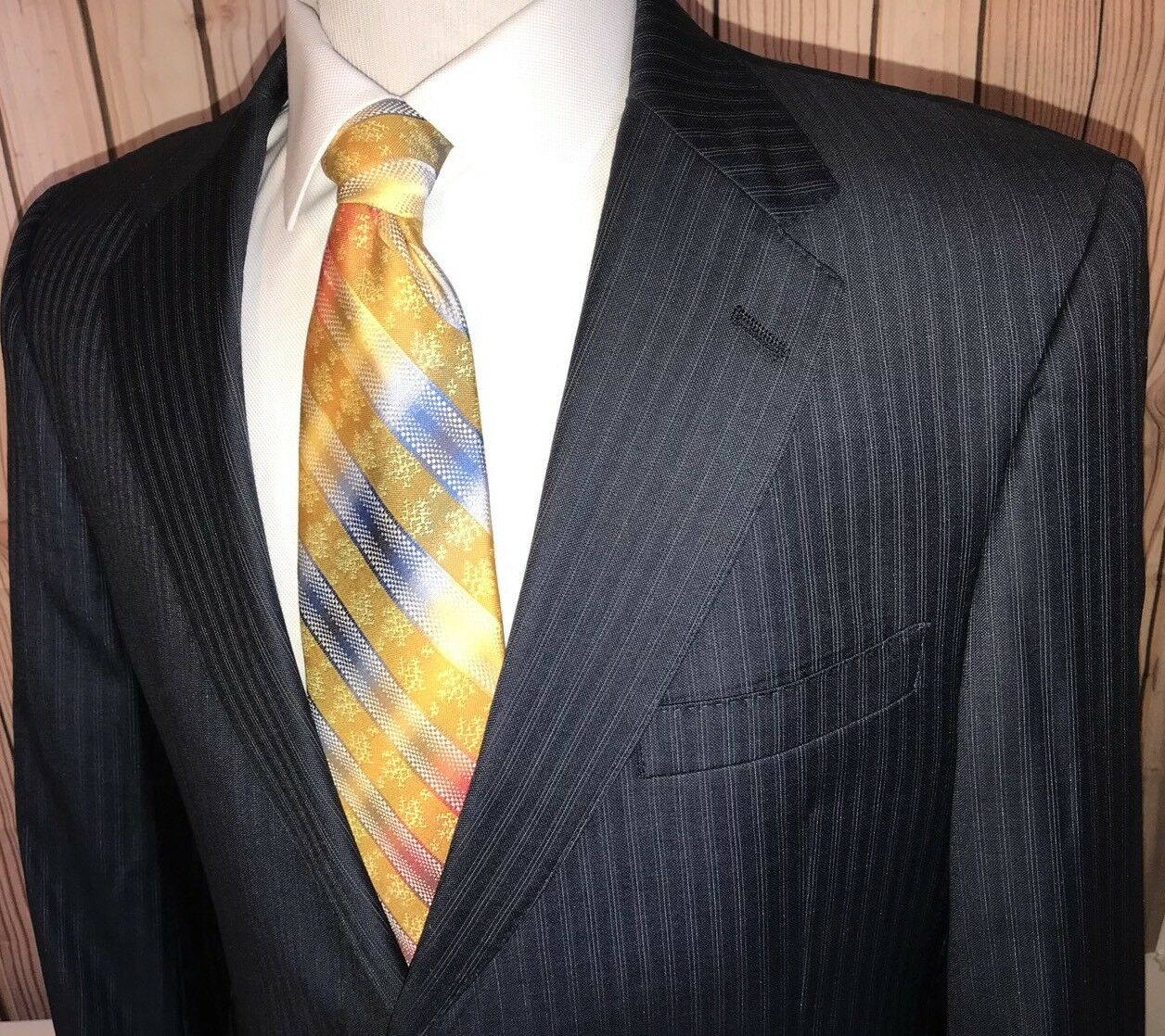 Daniel Cremieux Loro Piana Blau Pinstripe 100% Wool Sport Coat Blazer Sz 43 R