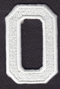 """LETTERS 1 7//8/"""" WHITE BLOCK LETTER /""""O/"""" - Iron On Embroidered Applique Patch"""