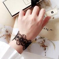 Damen Tattoo Choker Halskette Armband Ring Henna Gothic Elastisch Schwarz/Weiß