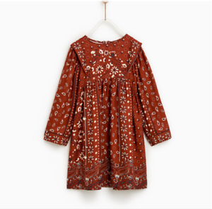 9afa60342 Zara girls Floral Print Dress Toffee Long Sleeve Back Zip Closure ...