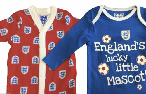 baby grows 2 Pack England Baby sleepsuits all sizes Red and Blue