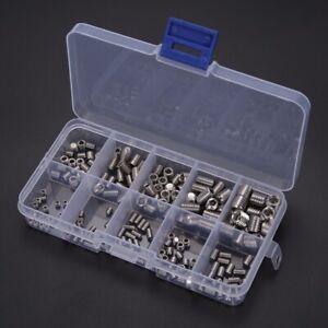 200-Teile-M3-M8-Edelstahl-Sockel-Madenschrauben-Sortiment-Gewindestifte-Set