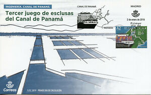 Espagne-2019-FDC-Engineering-Canal-de-Panama-1-V-couverture-Bateaux-Navires-marins-Timbres