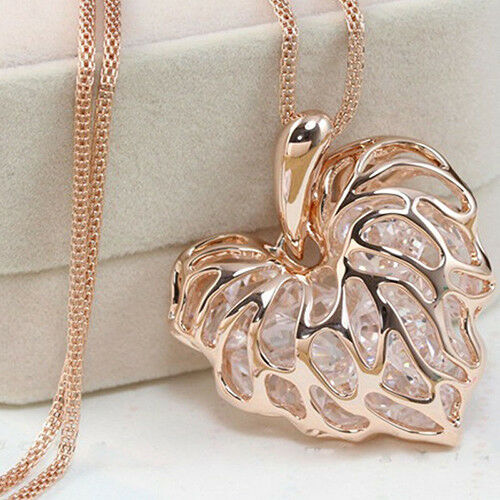 UK/_ LC/_ Trendy Sweater Long Chain Necklace Heart Crystal Rhinestone Hollow Pende