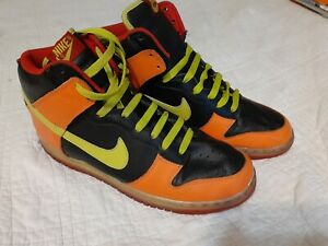2007-Nike-Dunk-High-Black-Bright-Cactus-Orange-VTG-SB-Size-10-309432-032