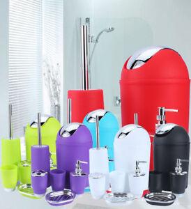 6pcs/set Plastic Bathroom Accessory Set Cup Toothbrush Holder Soap Dish Bins