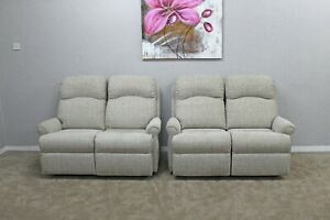 G-Plan-Newbury-Loom-Clay-Fabric-x2-Manual-Reclining-2-Seater-Sofas