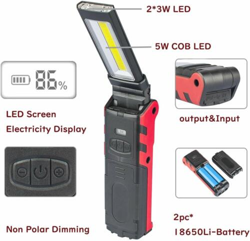 Foldable COB Inspection Lamp Work Light Hand Torch USB Rechargeable LED