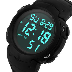 Fashion-Men-039-s-Watches-Boy-LCD-Digital-Stopwatch-Date-Rubber-Sport-Wrist-Watch-UK