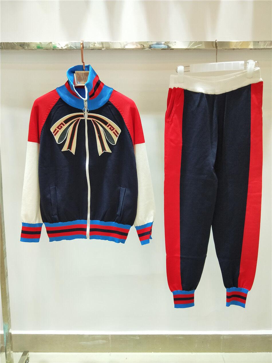 Desinger Women Coat+Pants Suits 2 pcs 2018 Wholesale Occident Knitting 2 PCS Hot