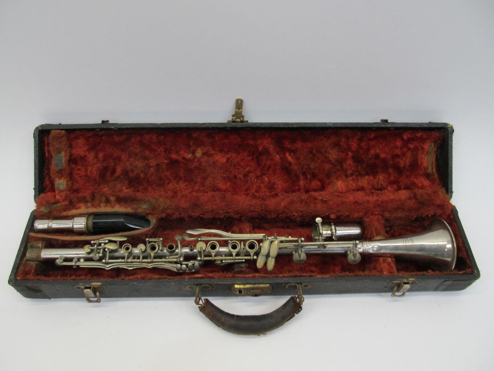 Vintage Vintage Vintage un Fountaine PARIS clarinete De Metal Con Estuche b150ca