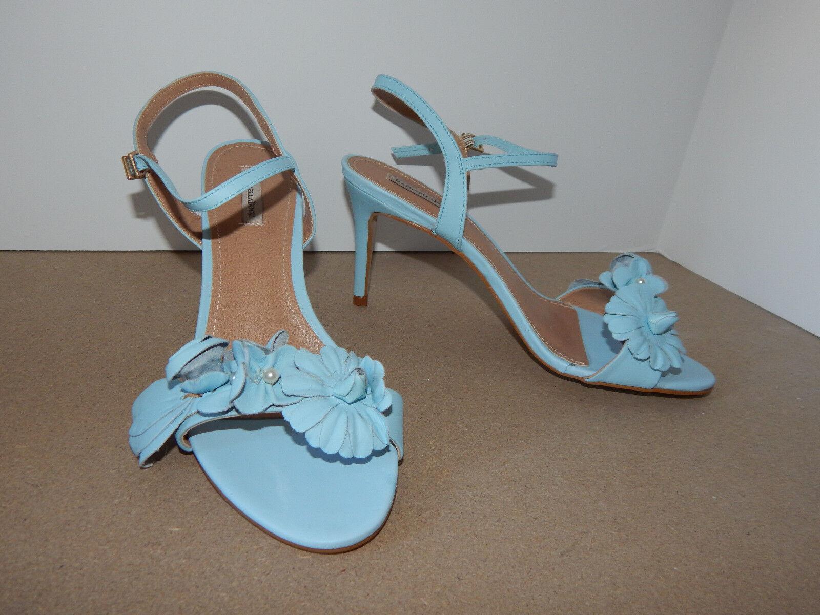 Bhldn 8 Zapatos azul azul azul florecido Cuero Flores Perlas Tacones Raphaella Booz  120 Usado En Excelente Condición  connotación de lujo discreta