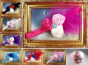 Wholesale-Baby-Girls-headband-boutique-rosette-hair-flowers-bow-Pearl-Feather-YB