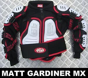 Red White /& Black Kids Motorbike MX Enduro Sports Body Armour Jacket Ages 4,6,8,10,12