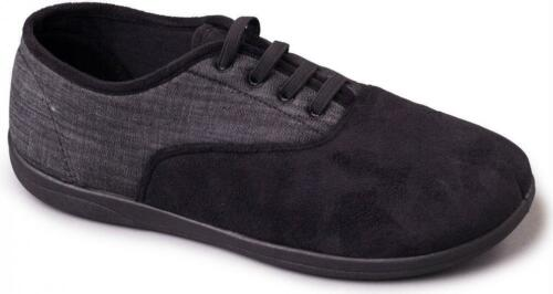 Padders SNEAKER Mens Canvas//Microsuede Lace Up Wide Fit Comfort Slippers Black