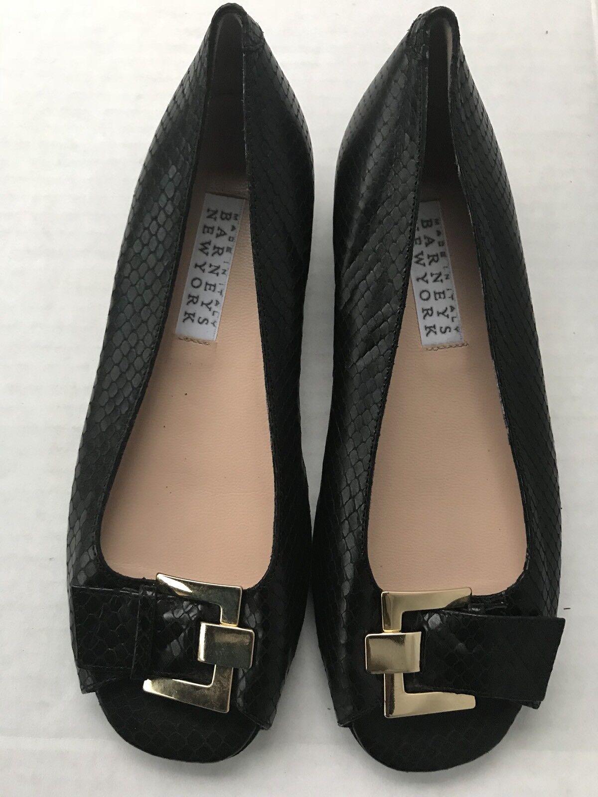 Barneys new york Womens Leather Open Toe Flats Black Size 6.5 US 36.5