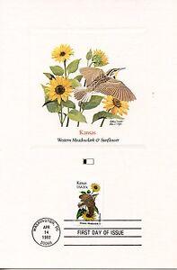 Rechercher Des Vols First Day Of Issue / Fdc / Oiseaux & Fleurs Des 50 Etats Des Usa / Kansas