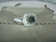 AUTHENTIC DAVID YURMAN S.SILVER NOBLESSE PRASIOLITE DIAMOND RING SIZE 6 DY POUCH