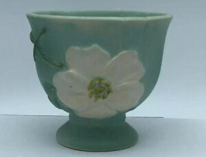 Antique Weller Green Dogwood Bowl Vase Artist Signed Footed  W36
