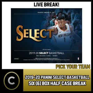 2019-20-PANINI-SELECT-BASKETBALL-6-BOX-HALF-CASE-BREAK-B362-PICK-YOUR-TEAM