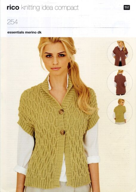 Ladies Cabled Waistcoat In 2 Lengths 32 42 Rico Dk Knitting