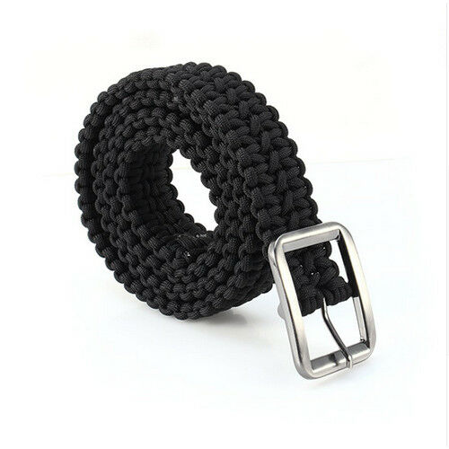 Paracord Belt Outdoor Sports Waistband Girdle Camping Solid Steel Buckle Belts