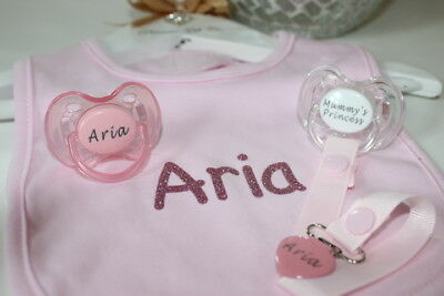 2 x Personalised AVENT Dummies /& Clip 0-6 Months** CAN BE STERILISED *