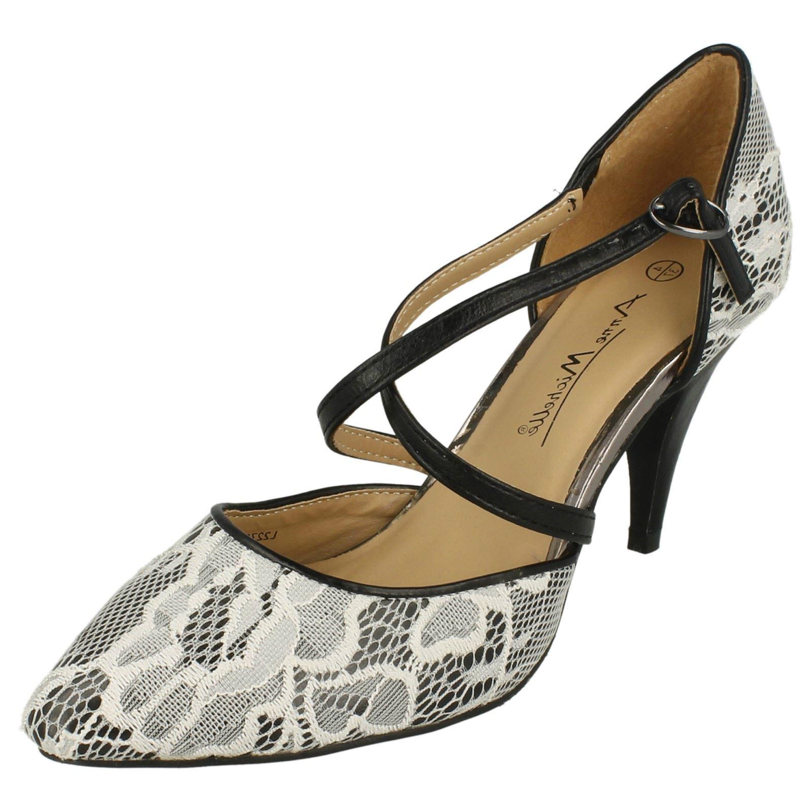 Anne Michelle L2273 Ladies Black and Ice Lace Court Shoe (32A) (Kett)