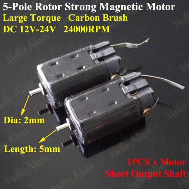 DC 12V~24V High Speed Strong Magnetic 5-Pole Rotor Mini Motor Toy Car Boat DIY