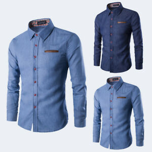 Mens-DRESS-SHIRTS-Stylish-Slim-Fit-Stretch-Cotton-Casual-Button-Down-Long-Sleeve