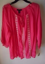 STYLE & CO. BOHO/PEASANT PINK WHITE EMBROIDERED COTTON TOP ~NWT~ L