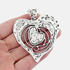 5Pcs Antique Silver Tone Large Heart Charms Pendants for Necklace Jewelry Making