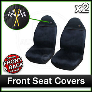 BLACK-Car-Seat-Covers-UNIVERSAL-Protectors-PAIR-x-2-Water-Proof-FRONT