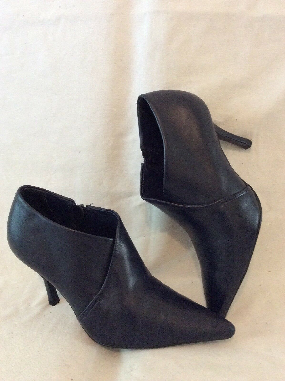 Faith Dark Grey Ankle Leather Boots Size 4