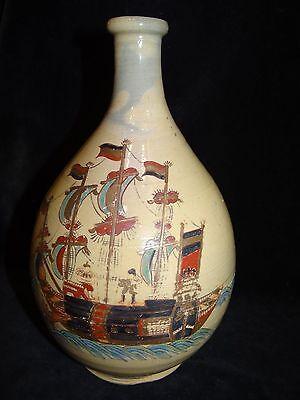 """antique Japanese pottery Nanban black ship dutchmen decorated wine bottle 10.5"""""""