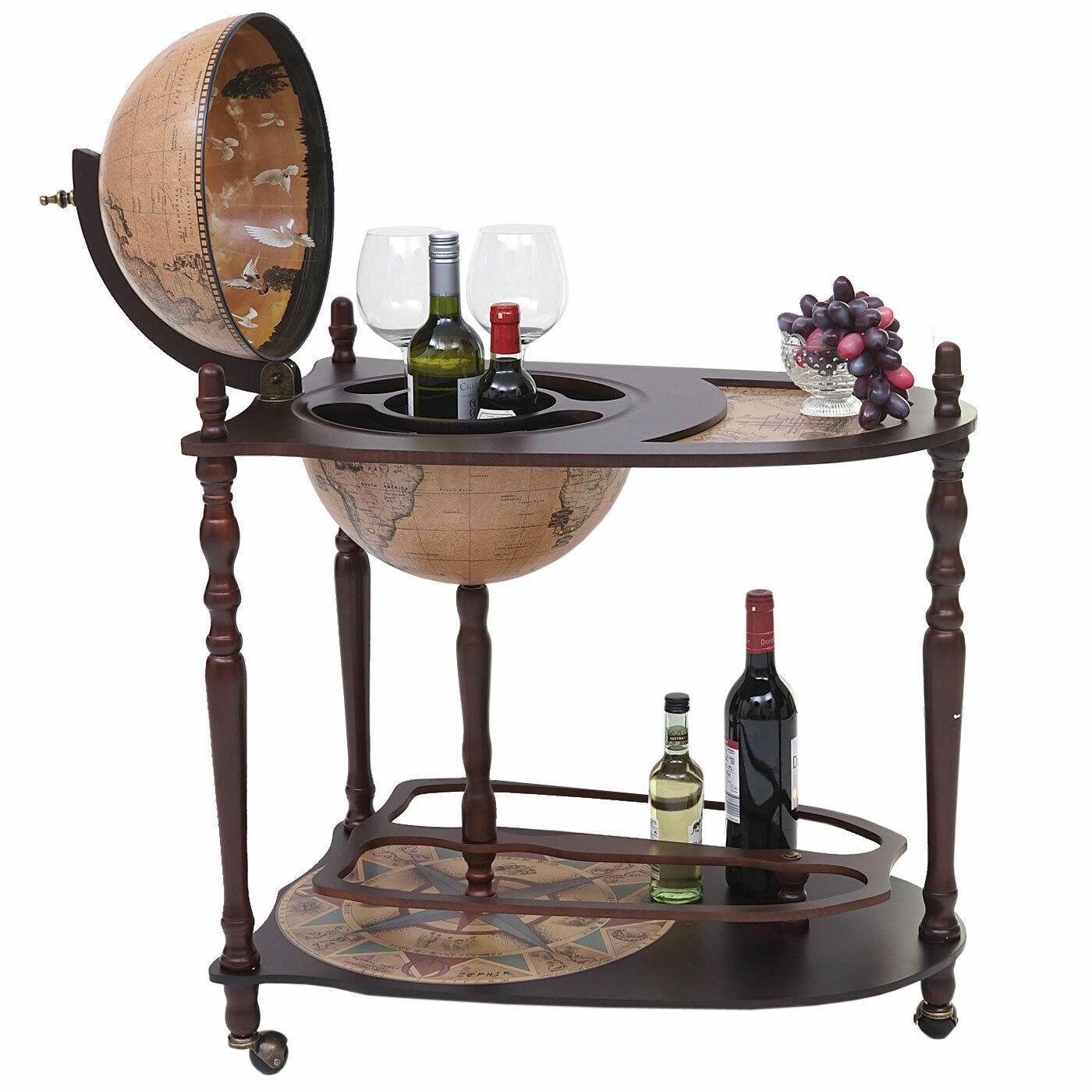 Hwc-t875 globusbar avec table, le bois d'eucalyptus, tischbar Placard à alcool T'Globe roulant